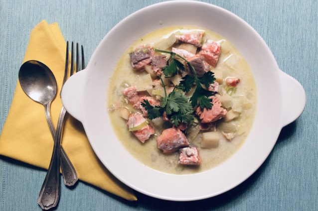 Salmon, Fennel, Parsnip and Coconut Stew